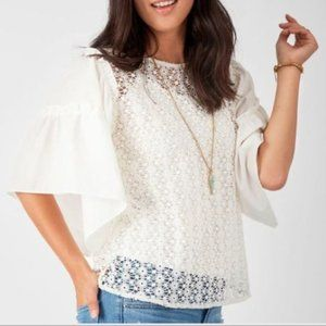 Stella and Dot Gertie Top Eyelet Gathered Sleeve M
